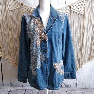 4/$25 Vintage Lace Pearl Floral Denim Jacket XL